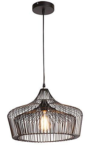 Luminaire Doris, suspension métal, 60 W, noir, ø 40 x H 31,5 cm