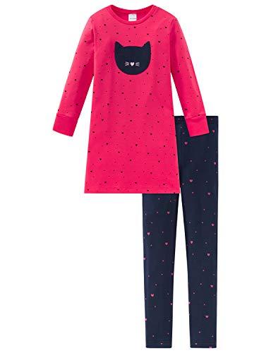 Schiesser Mädchen Cat Zoe Md Anzug lang Zweiteiliger Schlafanzug, Rot (Rot 500), (Herstellergröße: 116)