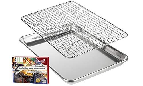 "KITCHENATICS Roasting & Baking Sheet with Cooling Rack: Small Quarter Sheet Size Aluminum Cookie Pan Tray with Stainless Steel Wire Rack - 9.6' x 13"", Heavy Duty Quality, Oven Safe and Non Toxic"