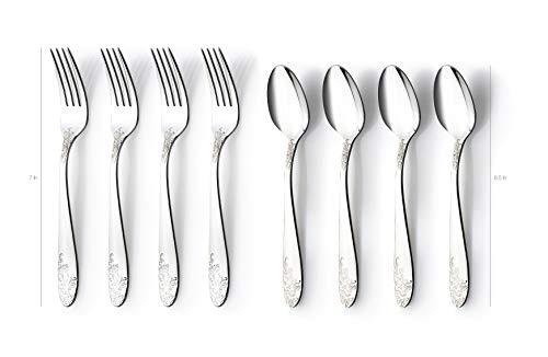 DANIALLI 40 Piece Silverware Set For 8, 18 10 Stainless Steel Silverware Set, Modern Fidenza Hammered Flatware Set, Knife/Fork/Spoon & Long Teaspoon/Salad Fork Mirror-Polished Dishwasher Safe Cutlery