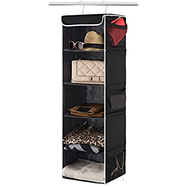 ZOBER 5-Shelf Hanging Closet Organizer - 6 Side Mesh Pockets Breathable Polypropylene Hanging Shelves - for Clothes Storage and Accessories, 12  x 11 ½  x 42  (Black)