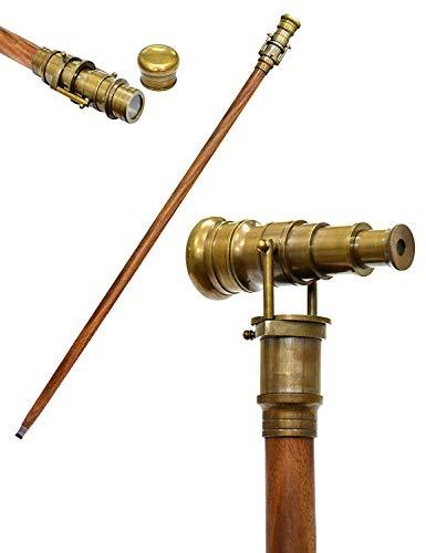 Victoriaanse houten wandelstok opvouwbare stok Steampunk stijl met messing telescoop handvat hand gesneden bruin 97 cm