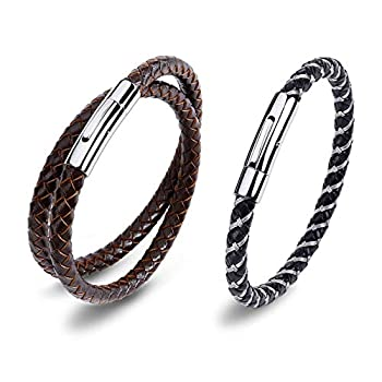 AIZU Braided Leather Rope Bracelet - 2 PCS Mens Leather Wrap Bracelet Woven with Leather Cord & Steel Wire - Brown Black Genuine Leather Bracelet with Stainless Steel Spring Clasp