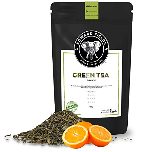 Edward Fields - Té Verde orgánico de alta calidad con naranja. Ingredientes y aromas naturales. Cantidad: 100g. Formato: Granel. Origen: China. Detox, antioxidante, adelgazante