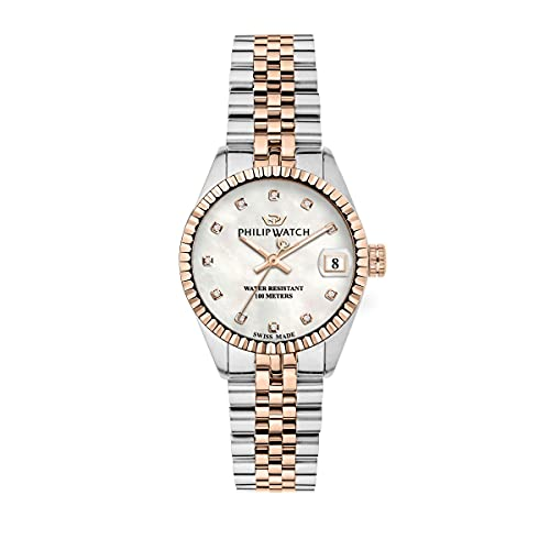 Philip Watch Reloj para Mujer, Colección Caribe, Swiss Made, de Acero, PVD Oro Rosa, diamanti naturali - R8253597562