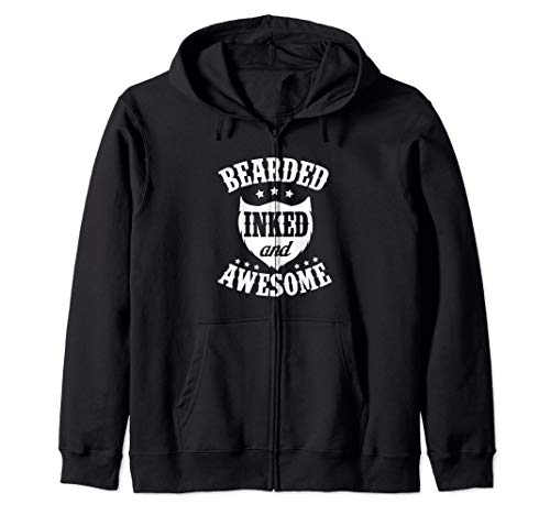 Bearded Inked and Awesome Tattoo Zip Hoodie