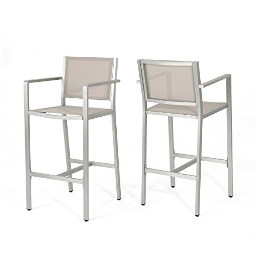 Christopher Knight Home Tammy Coral Outdoor Grey Mesh 29.50 Inch Barstools with Silver Rust-Proof Aluminum Frame (Set of 2),