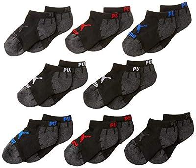 PUMA Girls' Little 8 Pack Boys' Low Cut Socks, black, 5-6.5