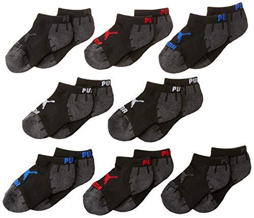 PUMA boys 8 Pack Boys' Low Cut Running Socks, Black, 7-8.5 US