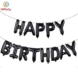 [Black Birthday Balloon Kit] HiParty 3D Premium Aluminum Foil Party Banner Balloons with Accessories,HP7BK