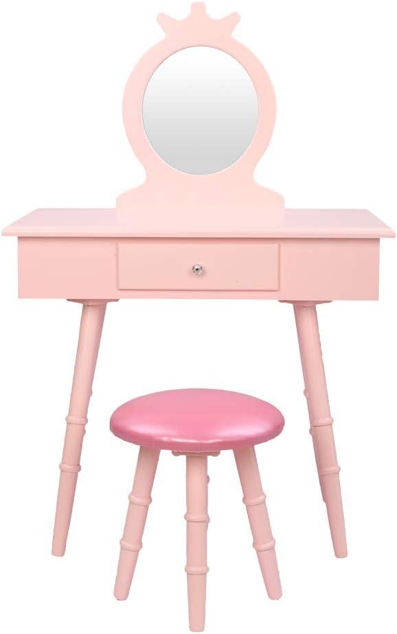 Kids Vanity Set Makeup Make Spring new work Spasm price Wooden Princess Dressing