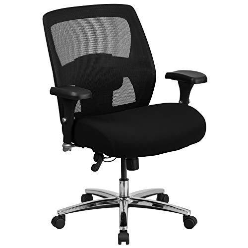 Flash Furniture HERCULES Series 24/7 Intensive Use Big & Tall 500 lb. Rated Black Mesh Executive Ergonomic Office Chair with Ratchet Back, BIFMA Certified