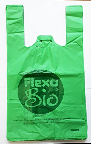 Plaxi 500 Buste 26+14x45 biodegradabili compostabili Norma EN 13432 per Negozi Alimentari, Usi Domestici a Strappo e asola per appenderli Shopper Sacchetti bio V26x45