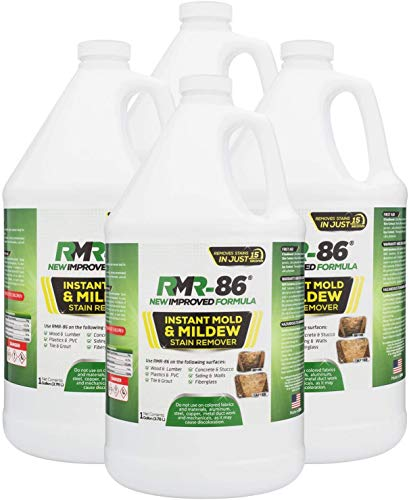 RMR-86 Instant Mold and Mildew Stain Remover Spray - Scrub Free Formula, Bathroom Floor and Shower Cleaner, 4 Pack - 1 Gallon