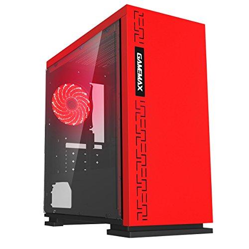 Game Max GAMEMAX Expedition Red Case Mini Micro Tower 0.6MM SPCC con Ventola 15 LED Rosso 3USB3.0 2.0 Pannello Laterale in Plexiglass (AxPxL: 380x350x188 mm)