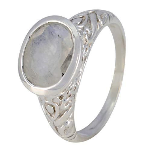 joyas plata gemas genuinas forma ovalada una piedra anillo de piedra de luna arcoíris facetado - anillo de piedra de luna arcoíris blanco de plata maciza - cáncer de nacimiento de julio
