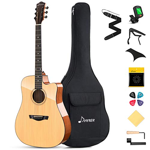 Donner DAD-812C Solid Top Acoustic Guitar Cutaway, 41' Guitar with gloss finish Bundle with Gig Bag Tuner Capo Picks Strap String