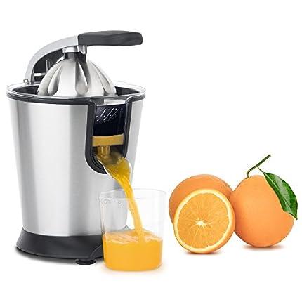 H.Koenig AGR80 Exprimidor Eléctrico para Zumos de Cítricos y Naranjas, Con Brazo Articulado Profesional, 160 W, Libre de BPA, Sistema Antigoteo, Silencioso, Acero Inoxidable, Gris