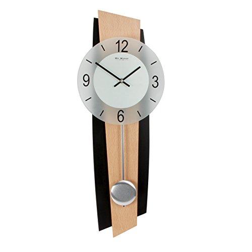 Reloj de pared moderno de péndulo de madera negra y haya