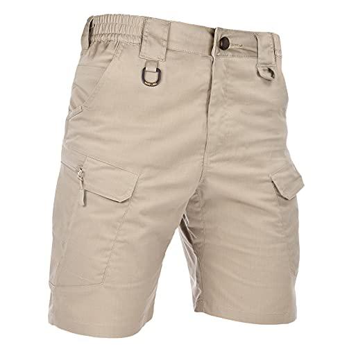 HARD LAND Men's 9.5' Ripstop Tactical Shorts Waterproof 9 Pockets Teflon Relaxed Fit Cargo Work Shorts Elastic Waist Hiking Fishing Khaki Waist36