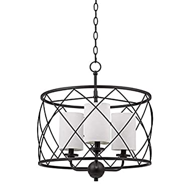 Stone & Beam Industrial Hanging Pendant Chandelier Fixture With 3 LED Light Bulbs And Off-White Shades- 18.5 x 18.5 x 21.25 Inches, Dark Bronze