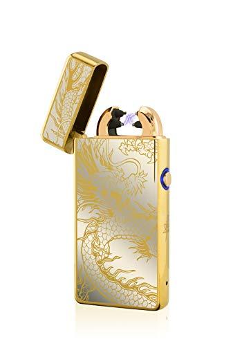 TESLA Lighter TESLA Lighter T08 Lichtbogen Feuerzeug, Plasma Double-Arc, elektronisch wiederaufladbar, aufladbar mit Strom per USB, ohne Gas und Benzin, mit Ladekabel, in edler Geschenkverpackung, Drache Gold Gold