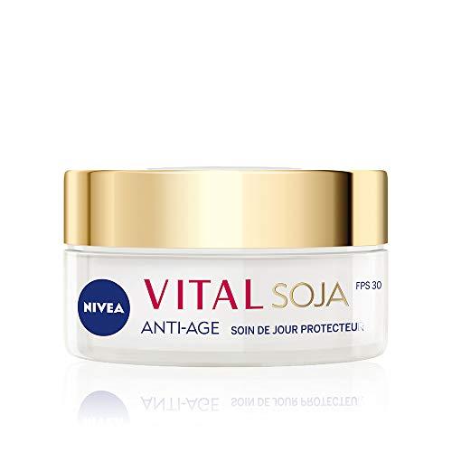 NIVEA Vital Soja Soin de Jour Anti-Âge Protecteur FPS30 (1 x 50 ml), crème anti-âge à l'extrait naturel de Soja, soin visage femme pour peaux matures