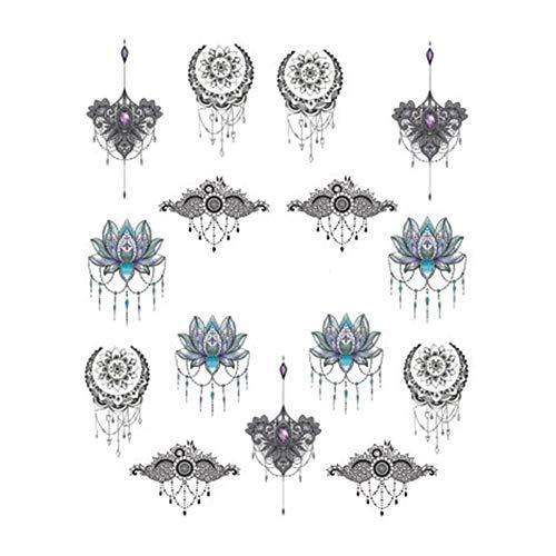 Emorias 5pcs Feuille Autocollants à Ongles Autocollants pour la décoration Série Lotus Nail Art Stickers Imperméable(Noir,6.2 * 5.5cm)