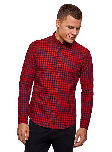 oodji Ultra Hombre Camisa de Algodón a Cuadros, Rojo, сm 42,5 / ES 52 / L