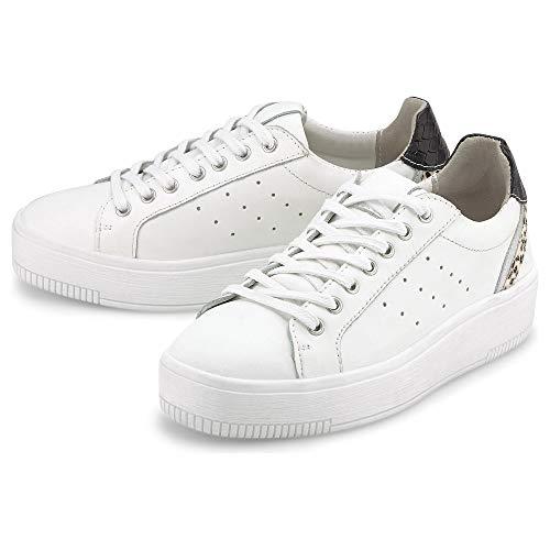 Cox Damen Platform-Sneaker Weiß Glattleder 39