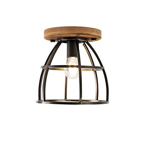 QAZQA Industrial Plafón negro madera bombilla-WiFi-E27 - ARTHUR Acero/Redonda Adecuado para LED Max. 1 x 7 Watt
