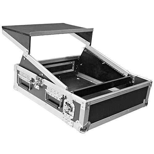 Seismic Audio - SATAC2x10 - Heavy Duty 2 Space ATA Rack Case with 10U DJ Mixer Top and Laptop Shelf - Pro Audio DJ Rack with Sliding Shelf