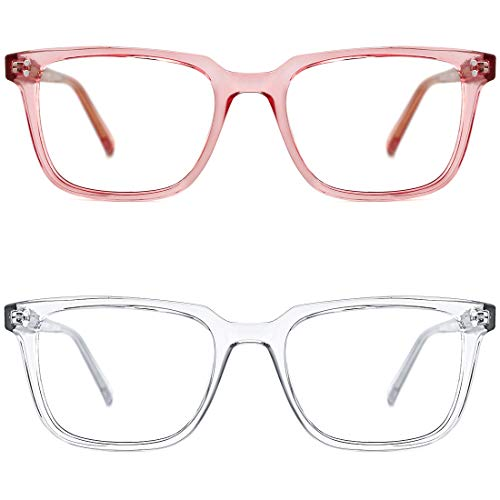TIJN Blaulichtblockierende Brille für Damen und Herren, Anti-Überanstrengung der Augen Gr. 90, Klar Rosa + Transparent