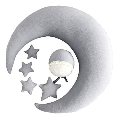 Xzbnwuviei Baby-Fotografie Mond Kissen Stern Hut 6-teiliges Set, Babymütze Posing Bohnen Mond Kissen Sterne Set Neugeborene Fotografie Requisiten Säuglinge Fotoshooting Zubehör