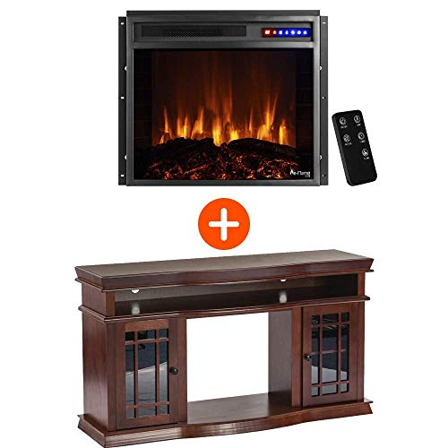 e-Flame USA Jackson TV Stand and Jackson LED Electric Fireplace Insert Stove with Remote Bundle - 3-D Logs and Fire - Warm Cherry Finish