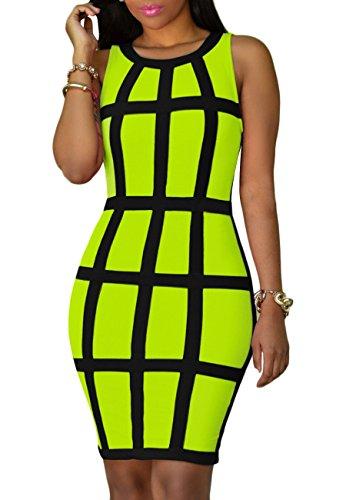 YMING Vestido de mujer que realza la figura, sin mangas, sexy, vestido hasta la rodilla, tallas S-4XL verde M-36/38/40