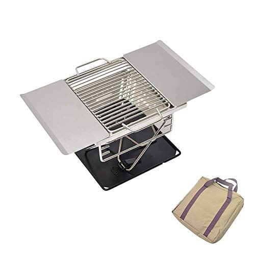 Stainless Steel Folding Charcoal Grill, Adjustable Portable Tabletop Barbecue Stove Cooker, for Outdoor Garden Camping Travel Barbecue Tools,1pcs