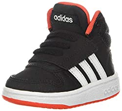 cheap Adidas Unisex Child Hoop Mid 2.0 Basketball Shoes Black / White / Red 4 Big USA Kids