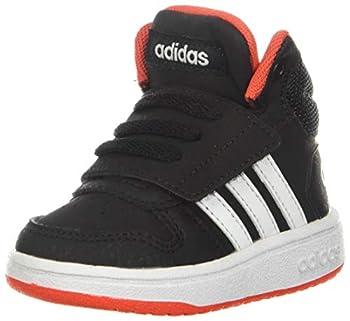 adidas unisex child Hoops Mid 2.0 Basketball Shoe Black/White/Red 1 Little Kid US