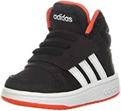adidas unisex child Hoops Mid 2.0 Basketball Shoe, Black/White/Red, 4.5 Big Kid US