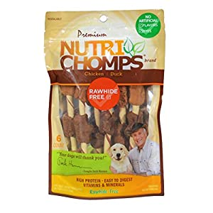 NutriChomps Dog Chews, 5-inch Kabobs, Easy to Digest, Rawhide-Free Dog Treats, 6 Count, Real Chicken and Duck Flavor