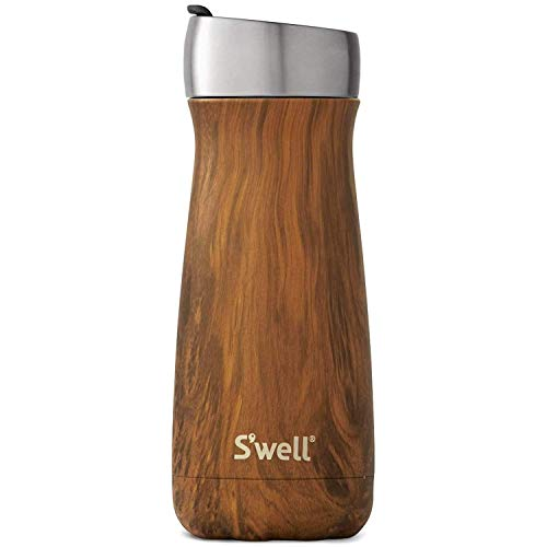 S'well Stainless Steel Traveler Bottle With Commuter Lid - 16 Fl Oz - Teakwood - Triple - Layered Vacuum - Insulated Containers Keeps Drinks Cold for 24 Hours and Hot for 6 - BPA - Free Water Bottle