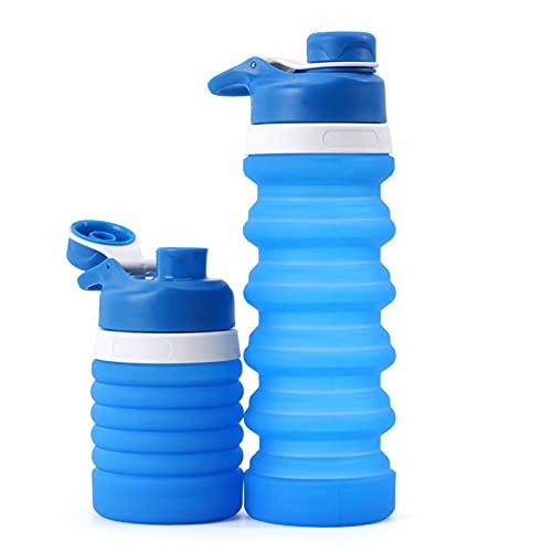 PZJ-Botellas de Agua de Silicona Plegables, Taza de Viaje Grado Alimenticio a Prueba De Fugas Sin BPA para Gimnasio, Camping, Senderismo,B