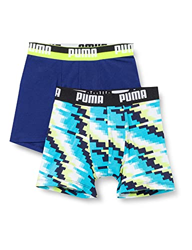 PUMA Boy's Glitch Boxer (2 Pack) Ropa Interior, Azul, 134-140 Niño