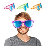 Relaxdays Partybrille, Blaue XXL-Gläser aus Kunstoff, Kostümzubehör, Bunt, Karneval, JGA,...