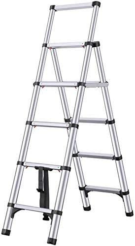 GUOXY Multifunktions-Teleskopleiter Aluminium Multi-Use Teleskopverlängerung Stufenleiter Klappbaren Tragbaren Leiter Technik Treppen Mit Rädern Multi-Purpose Zusammenklappbare Leiter Compact Loft La