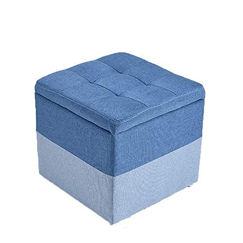 JXJ Cajas de almacenamiento otomana adultos pie cuadrado taburete resto reposapiés puffes multifunción taburetes silla para sala de estar dormitorio