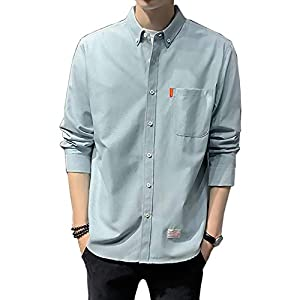 [Make 2 Be] メンズ シャツ 長袖 オックスフォード ボタンダウン カジュアル ビジネス 春 通勤 通学 コットン シンプル ベーシック カラー シャツジャケット リモート会議 M/L/XL T04 (22.BLUE_L)