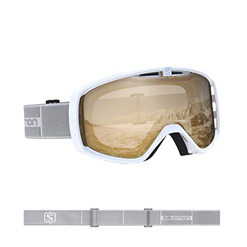 Salomon, Aksium Access, Unisex-Skibrille, Weiß/Universal Tonic Orange, L40846100