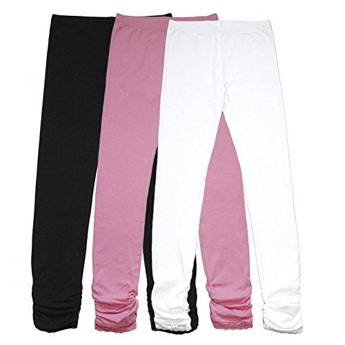 Bienzoe Girl's Cotton Stretchy School Uniform Lace...